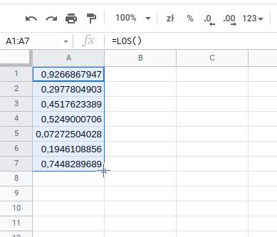 Generowanie (losowanie) liczb w arkuszu kalkulacyjnym - krok 2